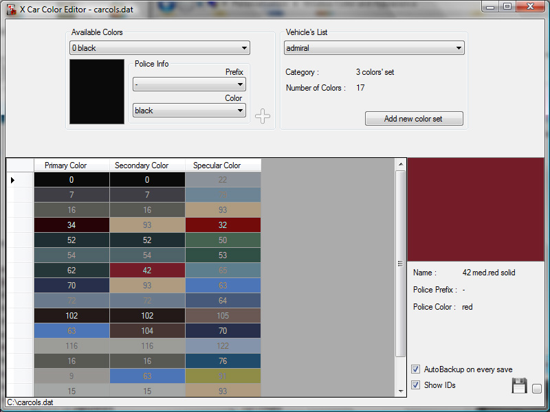 the gta place car color editor. Black Bedroom Furniture Sets. Home Design Ideas